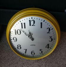 "Sunflower Yellow All Metal Wall Clock 1950's Round  Retro Large 14"" Standard"