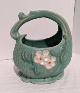 Antique Weller Pottery Art Deco Dogwood Blossom Basket