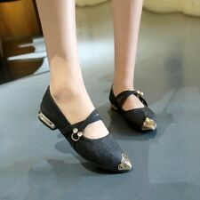 Women Casual Flat  Low Heel Ballet Shoes Pointed Toe Shiny Sequins Buckle Pumps