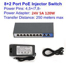 24V 10 Ports 8 PoE Switch 4,5+/7,8- for Ubiquiti M2 M3 M365 M5 UniFi A Mikrotik