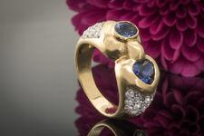 Schmuck Ring mit Saphir Herz und Ovalschliff sowie Brillanten in 750er Gelbgold