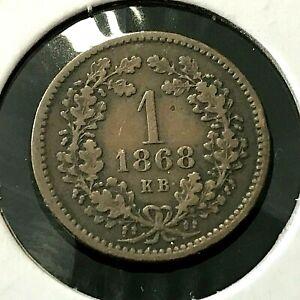 1868 HUNGARY ONE KRAJCZAR HIGH GRADE COIN
