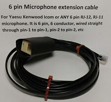 MICROPHONE EXTENSION CABLE 6 PIN RJ12 RJ-12 MODULAR YAESU FT8800 FTM-400 12 feet