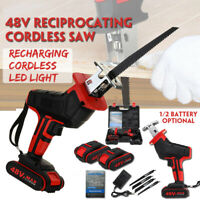 Cordless Electric Reciprocating Saw Heavy Duty Sabre Saw+4 Blades+Li-ion Battery