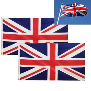 2 Pack  GREAT BRITAIN Flags Union Jack 5FT x 3FT UK Flag Indoor Outdoor GB