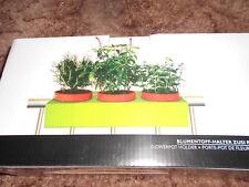 Blumentopf-Halter für 3Töpfe 12cm an Balkongeländer, hellgrün, 3Stück insgesamt