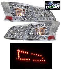 LED Tail Lights Chrome Housing 4 Pcs Set by DEPO Fits Nissan Sentra 2013-2018
