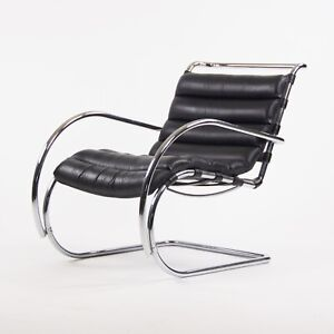Vintage Mies Van Der Rohe MR Lounge Chair with Arms Black Leather Chrome Knoll