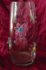 Retro Art Glass Dary Rees Original Hand Crafted Jeweled Flowers Vase 13""