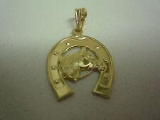 NOUVEAU 18 carats 18 Or Jaune Cheval Fer à pendentif charm médaillon