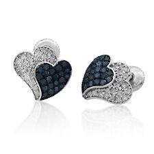 925 Sterling Silver 0.78 Ct Round Cut Natural Diamond Heart Shape Stud Earrings