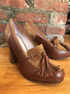 Plenty by Tracy Reese Brown Leather & Suede High Heel Loafer Pump, Sz 8(Euro 39)