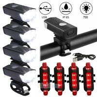 Lot Super Bright USB LED Bike Bicycle Light Rechargeable Headlight&Taillight Set