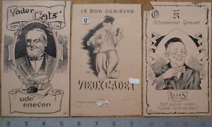 THREE Printer's Proof 1930s Bottle Labels - Schiedammer Genever, Vader Cats