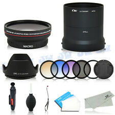 Wide Angle Macro Lens & UV CPL Graduated Colour Filters Kit For Sony DSC-HX300
