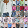 Womens Floral V Neck Long Sleeve Loose Tops Ladies Casual Shirt Blouse Plus Size