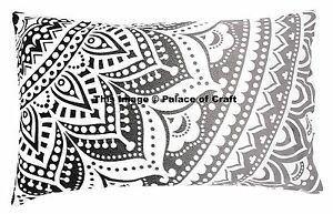 Indian Handmade Black White Ombre Mandala Pillow Cover Bed Cotton Cushion Cover