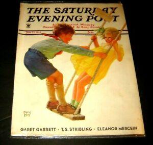 THE SATURDAY POST Magazine JUNE 22 1935 Children on swing  Eugene Iverd