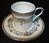 "Aynsley ""Henley"" Gold Trim Demitasse/Tea Cup & Saucer~  Fine Bone China ~England"