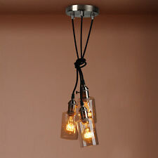 RETRO VINTAGE CLUSTER 3 CEILING PENDANT LIGHT FITTINGS GLASS BOTTLE LAMPSHADE