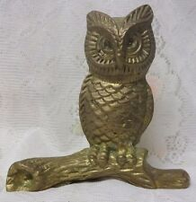 Antique Vintage Bronze Brass Desk Owl Sculpture Paper Weight