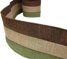 """2 Yds Earthtones Brown Beige Green Burlap Jute Wired Ribbon 4""""W"""