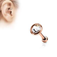 Rosegold Ohr Helix Tragus Stecker mit großem Kristall Platte Glitzer Piercing