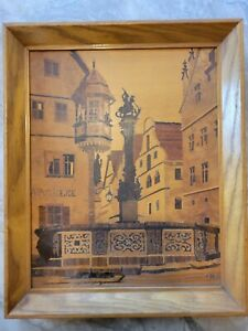 Buchschmid & Gretaux Marquetry Wood Inlay Picture St. George's Fountain Germany