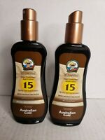 (2) Australian Gold SPF 15 Spray Gel Sunscreen with Instant Bronzer, Exp 01/23