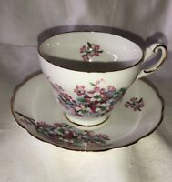 Vintage Regency Bone China England Pink Flowers Tea cup and saucer
