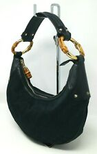 Vintage Gucci Bamboo Hobo Black GG Canvas Leather Shoulder Hand Bag Authentic