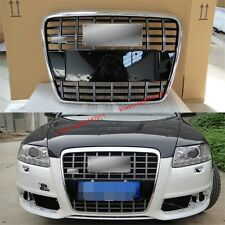 S6 Front Euro Mesh Black Grille Chrome Frame For Audi A6 C6 S6 4F SFG 2005-2011