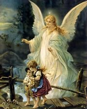 "Jesus Christ Guardian Angel art print 8""x 10"" Christian Photo 52"