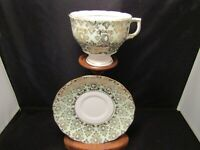 Colclough Bone China Tea Cup and Saucer Made In England Chintz Green Pastel