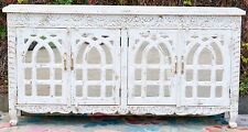 Carved Shabby Chic French Country Sideboard Mirror Door Storage Cabinet