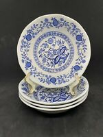 "Set of 4 Enoch Wedgwood Blue Heritage Blue Onion 6.5"" Soup Cereal Bowls EUC"