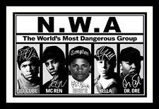 ICE CUBE & MC REN & EAZY E & YELLA & DR DRE - NWA SIGNED FRAMED PP POSTER PHOTO