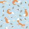 100% Cotton Fabric Lifestyle Mr Fox Leaves And Acorns 140cm Wide