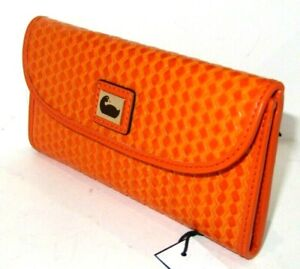 Dooney & Bourke Camden Orange Woven Leather Continental Clutch Wallet NWT $148