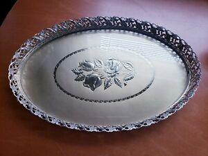 OVAL VANITY TRAY WITH GOLD ROSES