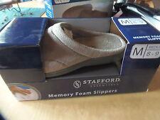 NEW Stafford Essentials Men's Memory Foam Slippers Sz, MEDIUM 8-9, BEIGE     x