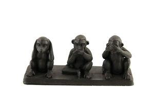 3 Scimmie Da La Saggezza IN di Resina Soprammobile Per Da Qualità H6cm Black Z3