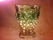 "McCoy Pottery 9"" Tall Grape Clustered Fan Style Planter Vase"