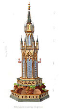 Food CULINARY CASTLE CAKE 1870's hand painted engraving