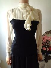 Cream Blouse Victorian Style Long  Sleeves High collar Black Bodice Size 10  BN