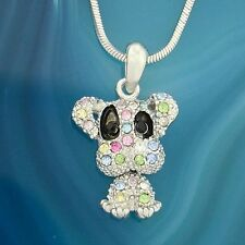 "DOG W Swarovski Crystal Puppy Pet Multi Color Necklace Movable Pendant 18"" Chain"