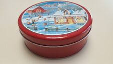 Christmas/Holiday Wintery Scene Cookie/Candy/Sweets/Brown ie Tin Skaters/Pond