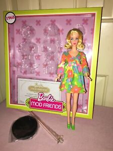 Barbie - from 2018 Mod Friends Giftset; blonde; 1968 outfit repro; stand