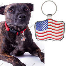 Pet Tag Dog Tags Engraved ID USA  Flag Collar Charm By Paw Print Pet Tags