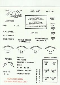 WURLITZER JUKEBOX 2000 2100 2200  2300S 2400  OR 2404  AMPLIFIER DECALS